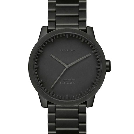 LEFF amsterdam PM Tube Watch S42 brushed stainless steel with black solid stainless Stahler band waterproof Ø42x11,4mm