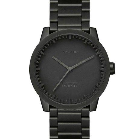 LEFF amsterdam PM Tubo reloj S42 acero inoxidable cepillado con sólida banda de acero Stähler Ø42x11,4mm impermeable negro