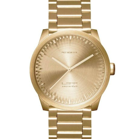 LEFF amsterdam PM Tube Watsch S42 Brushed stainless steel Brass Gold with solid stainless Stahler band waterproof Ø42x11,4mm