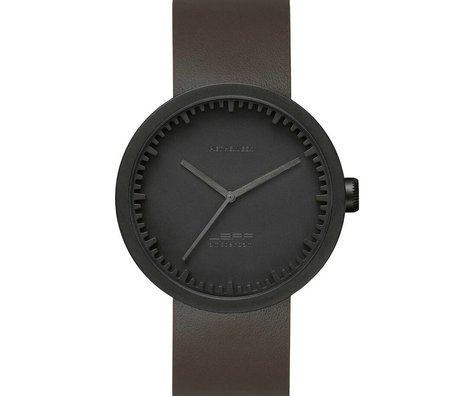 LEFF amsterdam PM Tube Watch D42 brushed stainless steel matte black waterproof with brown leather strap ø42x10,6mm