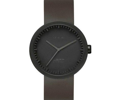LEFF amsterdam PM Tubo reloj D42 cepillado mate negro de acero inoxidable resistente al agua con correa de cuero marrón ø42x10,6mm