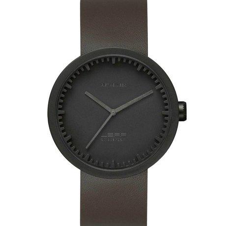 LEFF amsterdam Armbanduhr Tube Watch D42 aus gebürstetem, rostfreiem Stahl, matt schwarz mit braunem Lederarmband, wasserdicht ø42x10,6mm