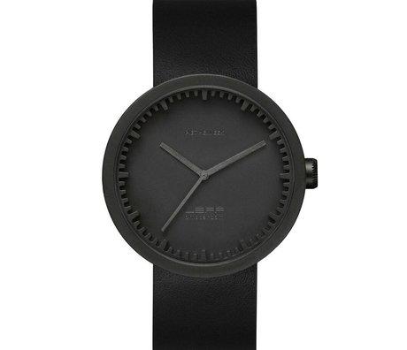 LEFF amsterdam Armbanduhr Tube Watch D42 aus gebürstetem, rostfreiem Stahl, matt schwarz mit schwarzem Lederarmband, wasserdicht Ø42x10,6mm