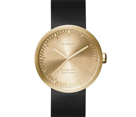 LEFF amsterdam PM Tube Watch D42 brushed stainless steel brass gold with black leather strap waterproof Ø42x10,6mm