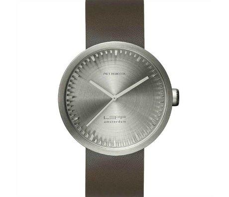 LEFF amsterdam Armbanduhr Tube Watch D42 aus gebürstem, rostfreiem Stahl mit braunem Lederarmband wasserdicht Ø42x10,6mm