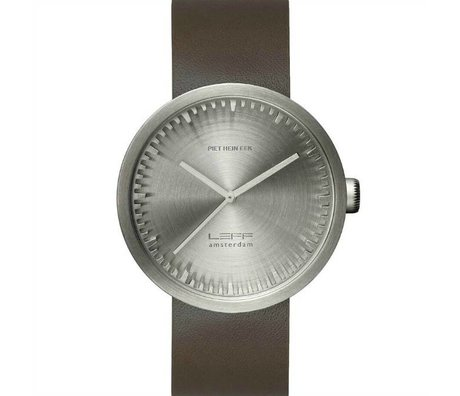 LEFF amsterdam PM Tube Watch D42 brushed stainless steel with brown leather strap waterproof Ø42x10,6mm
