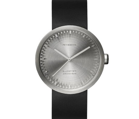 LEFF amsterdam Armbanduhr Tube Watch D42 aus gebürstem, rostfreiem Stahl mit schwarzem Lederarmband, wasserdicht Ø42x10,6mm
