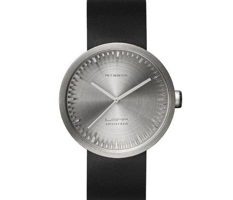 LEFF amsterdam PM tubo D42 reloj de acero inoxidable cepillado con correa de cuero negro resistente al agua Ø42x10,6mm