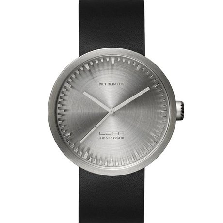 LEFF amsterdam PM Tube Watch D42 børstet rustfrit stål med sort læderrem vandtæt Ø42x10,6mm