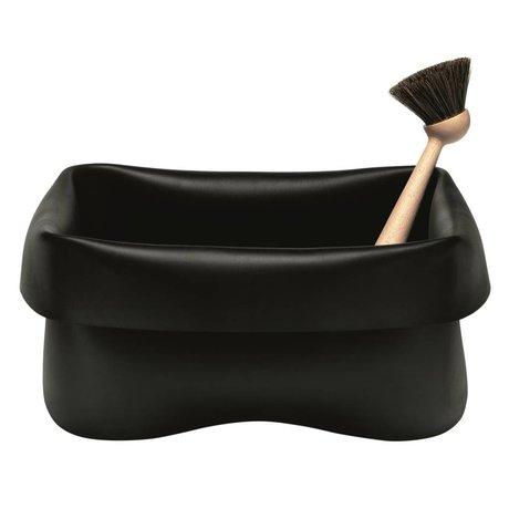 Normann Copenhagen Vasketøjskurv opvaskebalje sort gummi 28x28x14cm