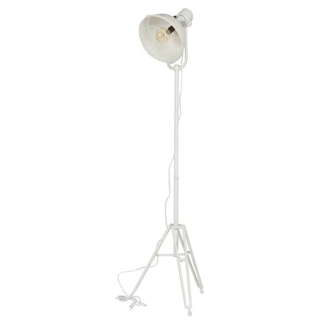 BePureHome Lampadaire phare 167x54x45cm en métal blanc
