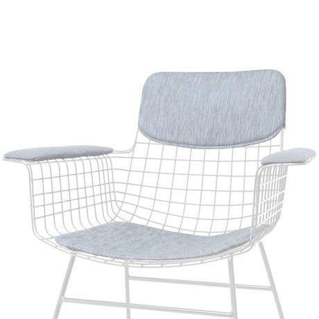 HK-living Kit Comfort chaise fil de métal gris avec accoudoirs