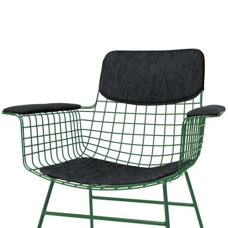 HK-living Kit confort pour chaise de fil en métal noir avec accoudoirs