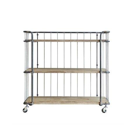 BePureHome Trolley Giro mittelgrau braun Metall Holz 94x41x89cm