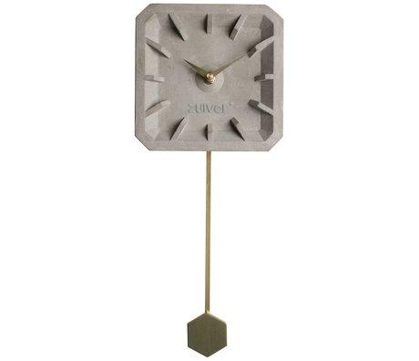 Zuiver Time clock Tiktak gold gray concrete aluminum 15,5x37,5x4cm