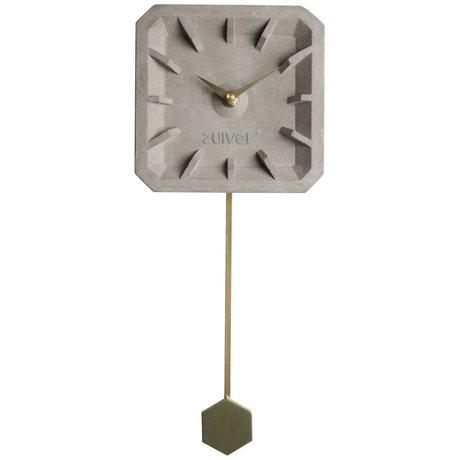 Zuiver Uhr Tiktak Time, grau gold, Beton Aluminium, 15,5 x 37,5 x 4 cm