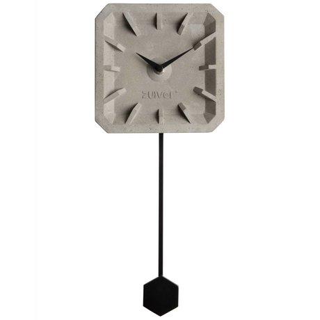 Zuiver Horloge Tiktak Temps gris béton 15,5x37,5x4cm en aluminium noir