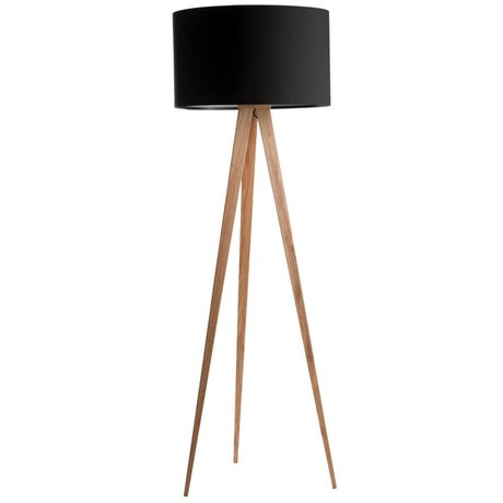 Zuiver Floor lamp tripod natural wood black 151x50cm