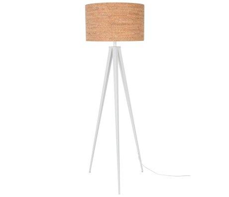 Zuiver Stativ-Stehlampe braun Kork weiß Metall 157x50cm
