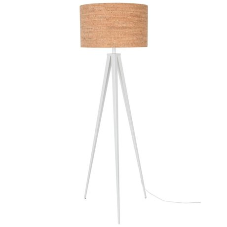 Zuiver Tripod floor lamp brown cork white metal 157x50cm