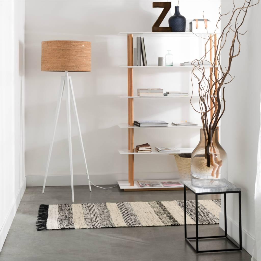 Zuiver Tripod Floor Lamp Brown Cork White Metal 157x50cm Leflivingcom