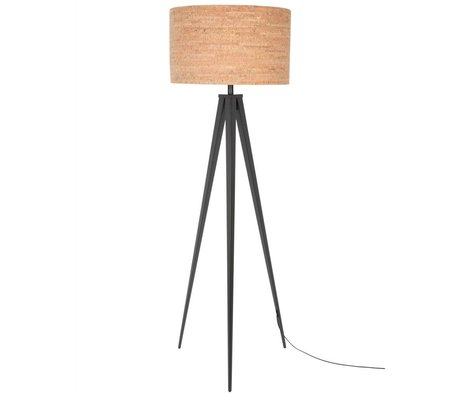 Zuiver Tripod floor lamp black brown cork metal 157x50cm