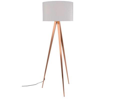 Zuiver Stativ-Stehlampe weiß Textil-Metall Kupfer 154,5x50cm