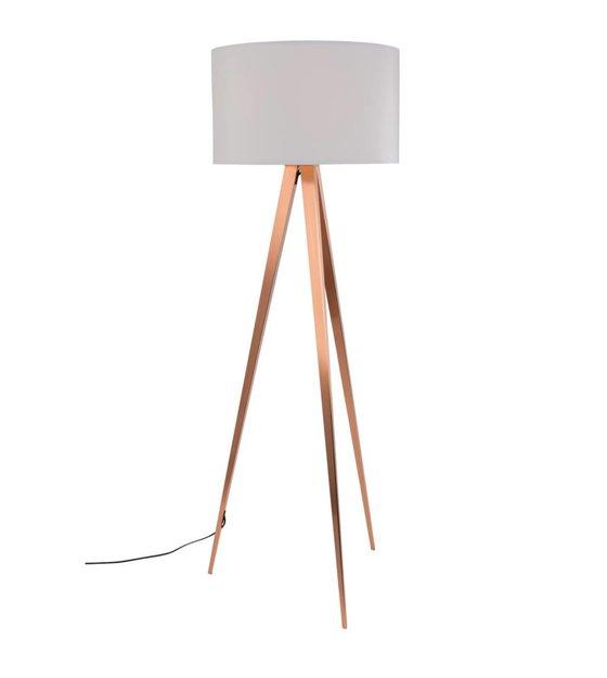 zuiver stativ stehlampe wei textil metall kupfer 154 5x50cm. Black Bedroom Furniture Sets. Home Design Ideas