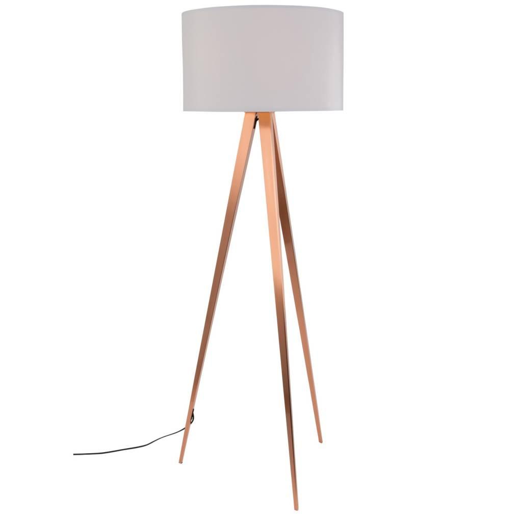 Zuiver Tripod Floor Lamp White Textile Metal Copper 154,5x50cm    Lefliving.com