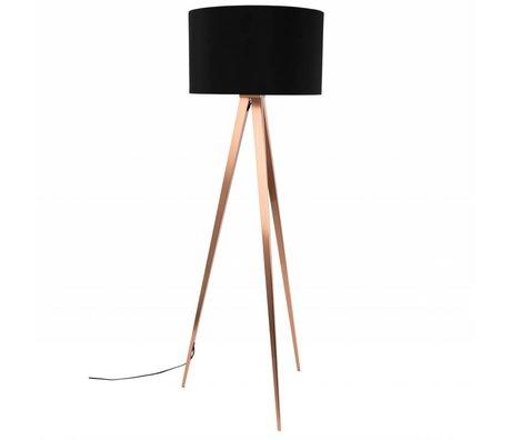 Zuiver Bodenlampe Tripod, schwarz, Textil, Metall, Kupfer 154,5 x 50 cm