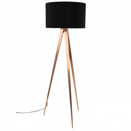Zuiver Tripod floor lamp black textile metal copper 154,5x50cm