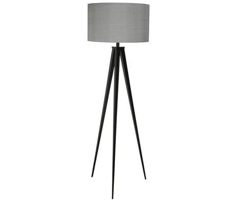 Zuiver Lampe sur pied trépied en métal noir 157x50cm tissu gris