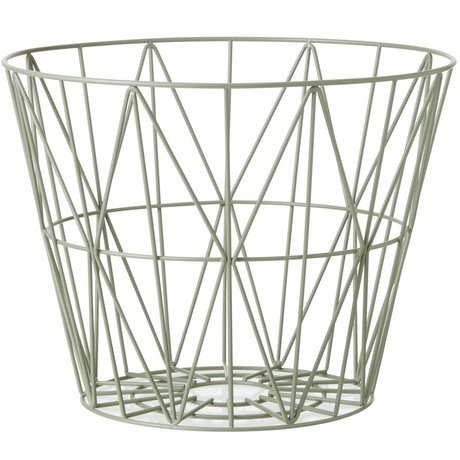 Ferm Living Basket dusty green iron 3 sizes 40x35cm, 50x40cm, 60x45cm wire basket