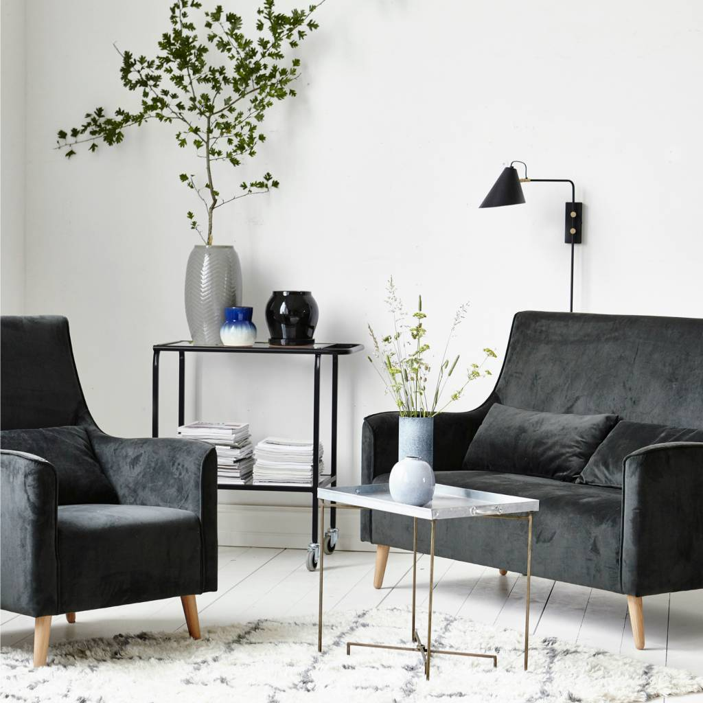 housedoctor wandleuchte schwarz eisen club 18 20x54x22cm. Black Bedroom Furniture Sets. Home Design Ideas