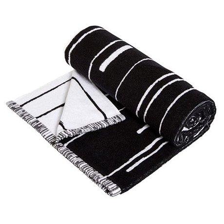 OYOY Håndklæde Puun stor sort og hvid bomuld 70x140cm