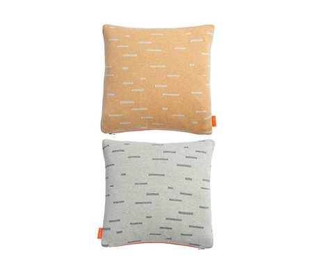 OYOY Oreiller Smilla orange clair coton gris 40x40cm