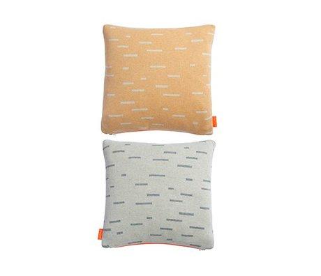 OYOY Oreiller Smilla orange clair coton gris 40x40cm