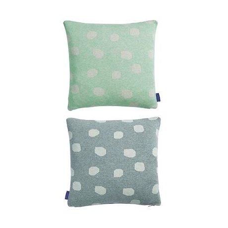 OYOY Oreiller Smilla menthe vert clair coton 40x40cm gris