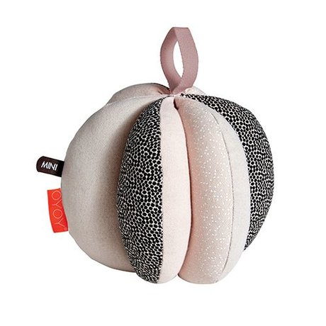 OYOY Ball Puzzle pink sort hvid bomuld Ø13cm