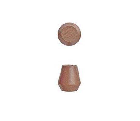 OYOY İki karamel kahverengi ahşap Ø2,3x2,5cm ve Parantez Saki Seti
