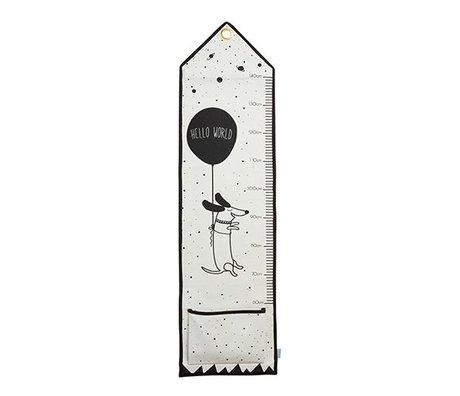 OYOY Hej verden lineal sort og hvid bomuld 125x30cm