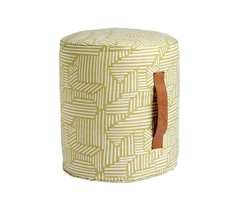 OYOY Puf Paddy mini gul og hvid bomuld Ø30x35cm