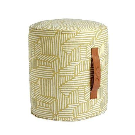 OYOY Pouf Paddy mini gelbe und weiße Baumwolle Ø30x35cm