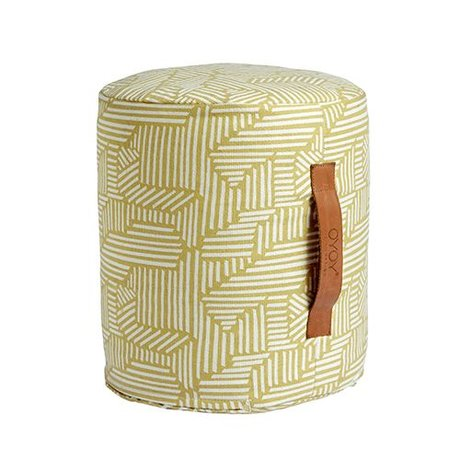 OYOY Pouf Paddy mini yellow and white cotton Ø30x35cm