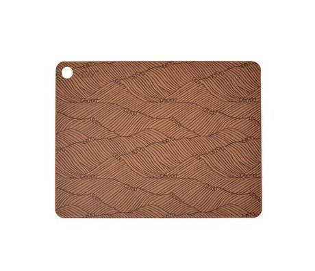 OYOY Placemat poipoi set of two brown silicone 45x34x0,15cm