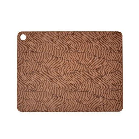OYOY Dækkeserviet poipoi sæt af to brune silikone 45x34x0,15cm