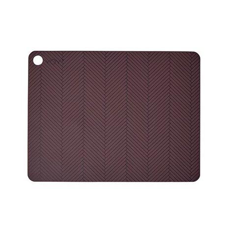 OYOY juego de mantel individual de dos 45x34x0,15cm de silicona burdeos