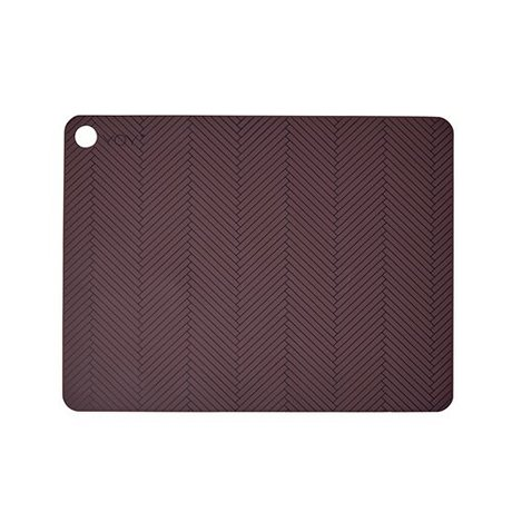 OYOY Placemat set of two burgundy silicone 45x34x0,15cm
