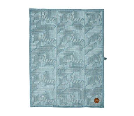 OYOY Paño de cocina de arroz azul caramelo de algodón marrón 50x70cm