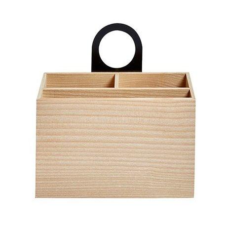 OYOY Stoccaggio vassoio Miu naturale marrone 8,5x18,9x20cm legno nero